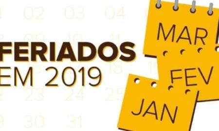 Lista de feriados e pontos facultativos nacionais 2019.